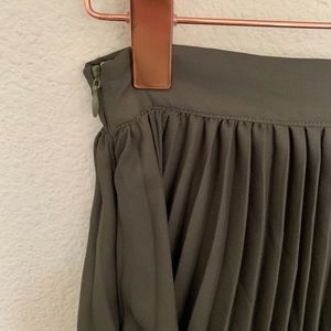 Skirts - Olive green pleated maxi skirt